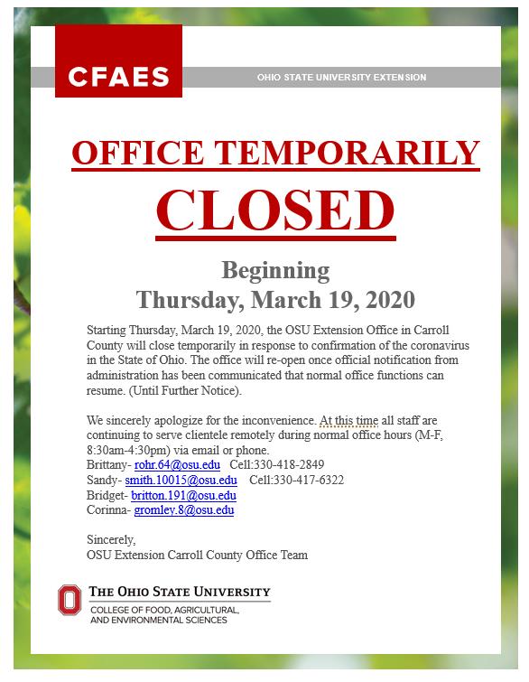 Temporarily Closure
